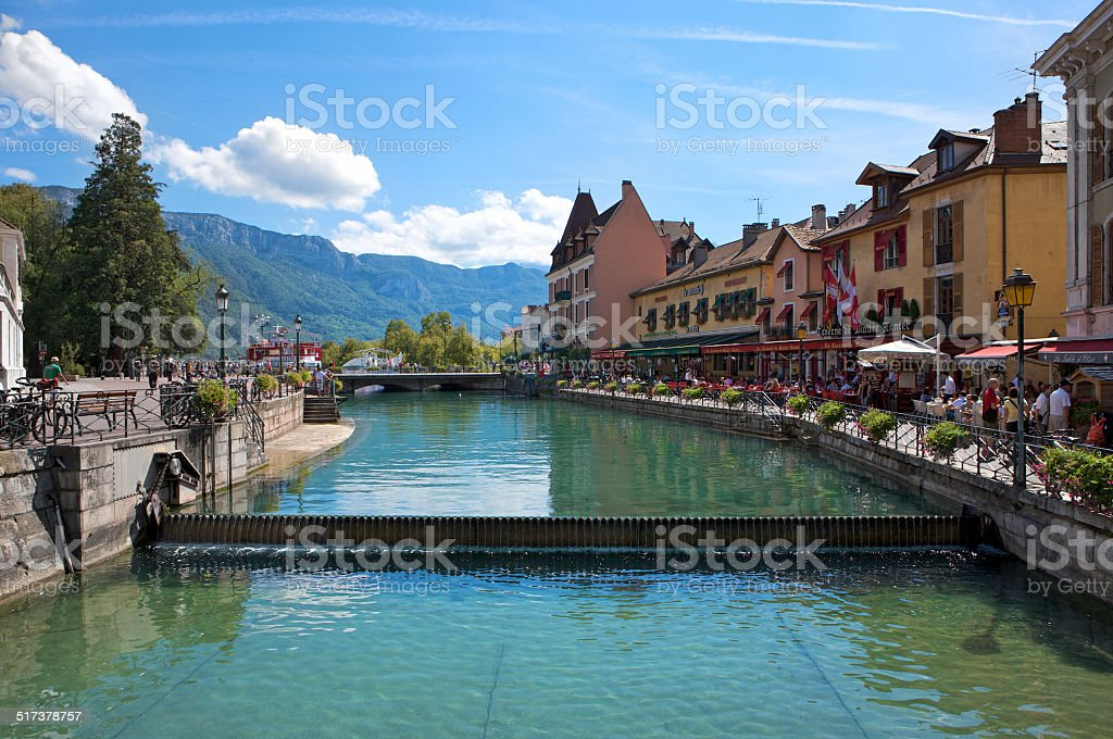 Waterside restaurants and bars of the French town of Annecy stock photo