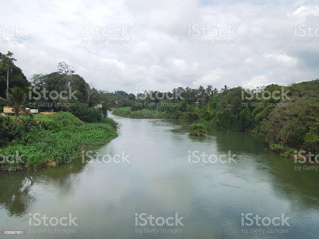 waterside scenery in Sri Lanka stock photo