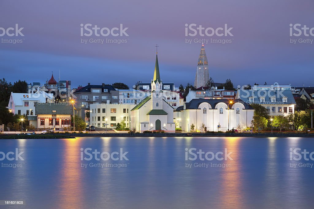 Waterside view of Reykjavik, Iceland, at dusk stock photo