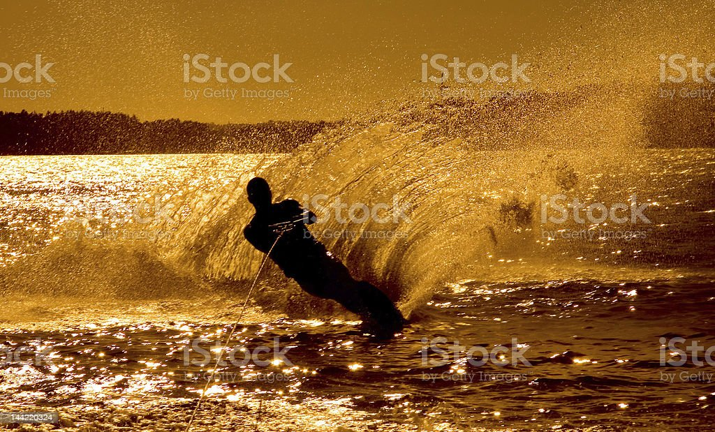 Waterski in the famous norwegian fjords royalty-free stock photo