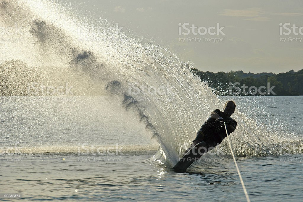 Waterskiing in the Late Afternoon stock photo