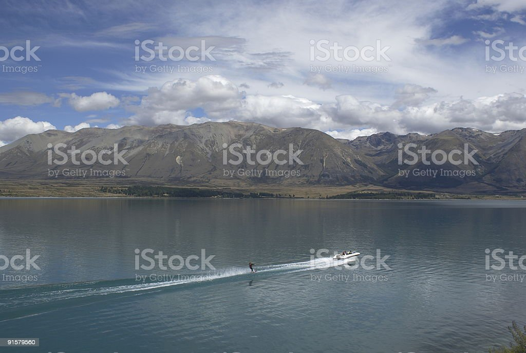 Waterskiing on lake. royalty-free stock photo