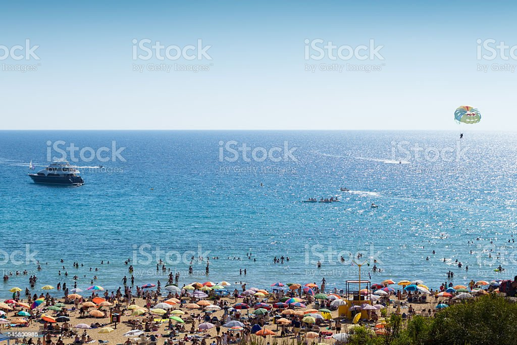 Watersports and Beach at Golden Bay, Malta, Europe stock photo