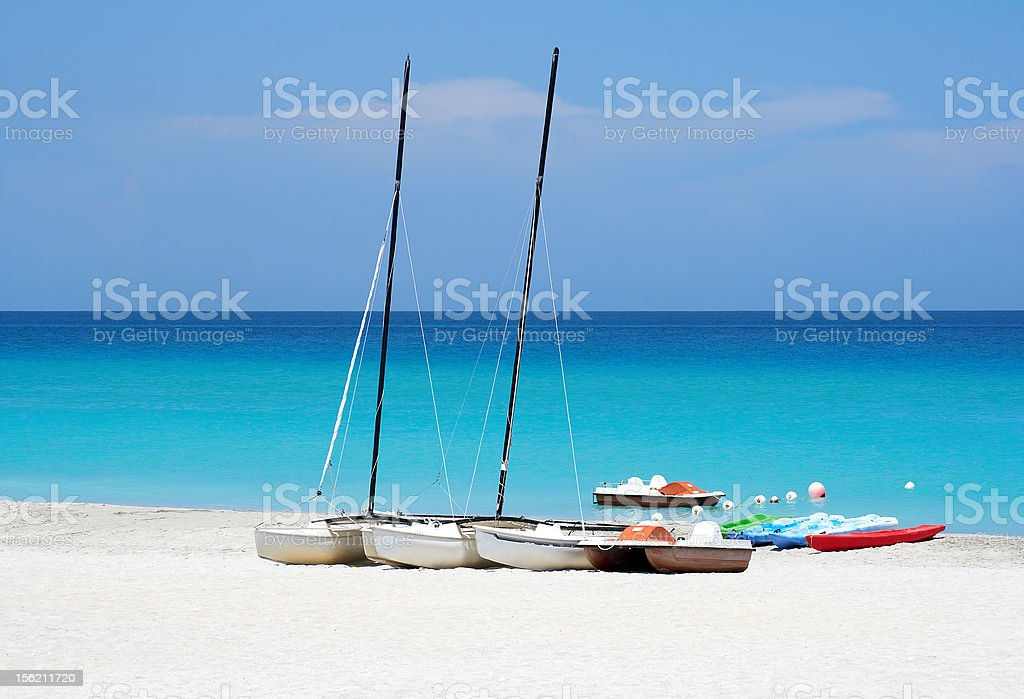 Watersports boats in a beach royalty-free stock photo
