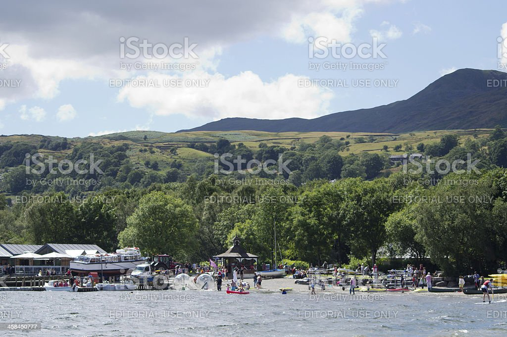 Watersports centre on the banks of Coniston Water stock photo