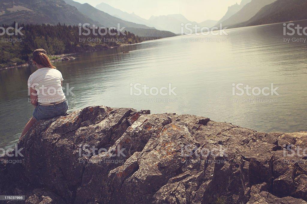 Waterton Lake Tourists royalty-free stock photo