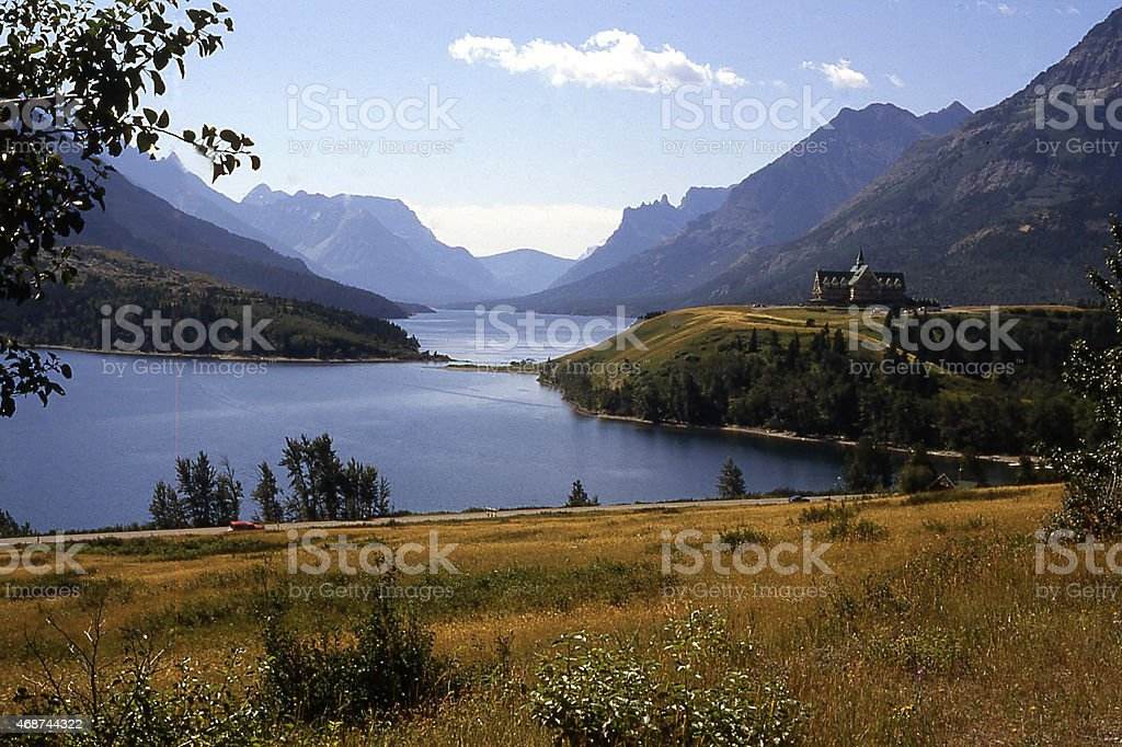 Waterton Lakes National Park and Prince of Wales Hotel Canada stock photo