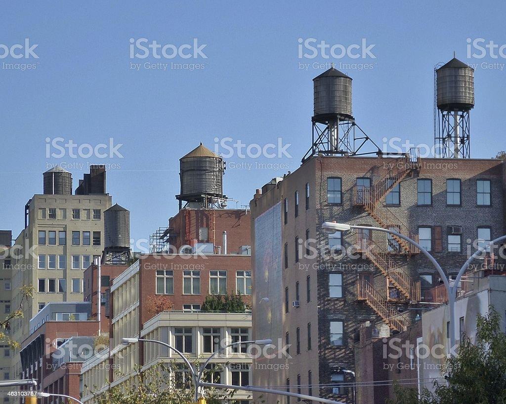Watertowers of New York City stock photo