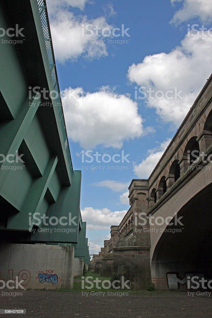 Waterway crossing in Minden stock photo