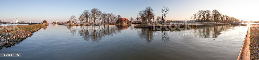 waterway crossing minden germany high definition panorama stock photo