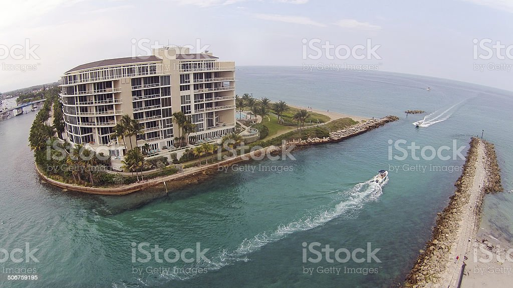 Waterway in Florida aerial view stock photo