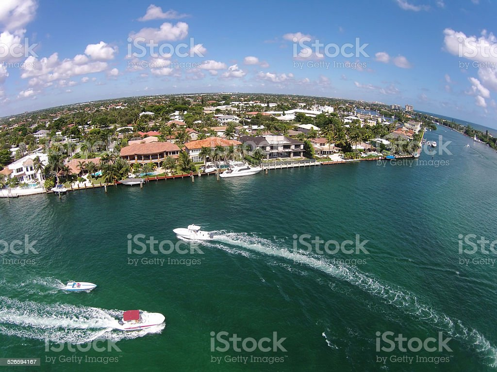 Waterways in Boca Raton, Florida aerial view stock photo