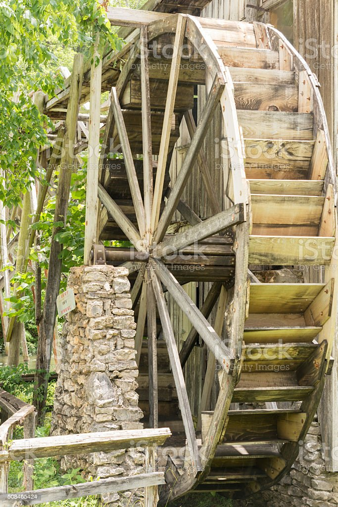 Waterwheel at Morgans Mill Arkansas stock photo