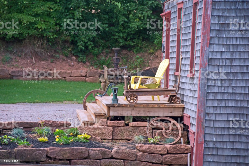 Waterwheel out building on Prince Edward Island stock photo
