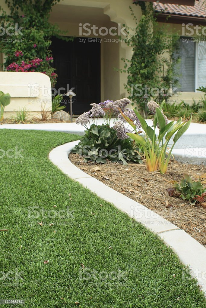 Waterwise Lawn with Mow Curb stock photo