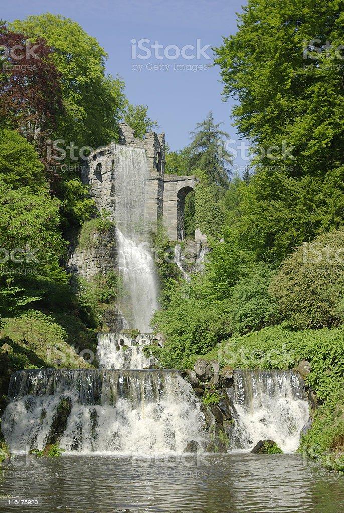 Waterworks at the Aqueduct, Bergpark Wilhelmsh?he, Kassel stock photo