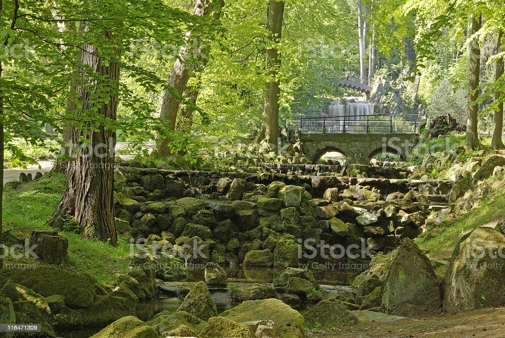 Waterworks at the 'Teufelsbrücke' Bergpark Wilhelsmhöhe, Kassel stock photo