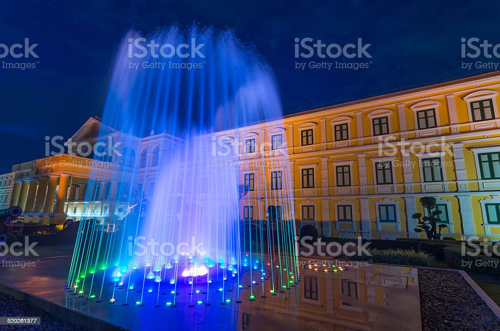 Waterworks with Ministry of Defense background at twilight time stock photo