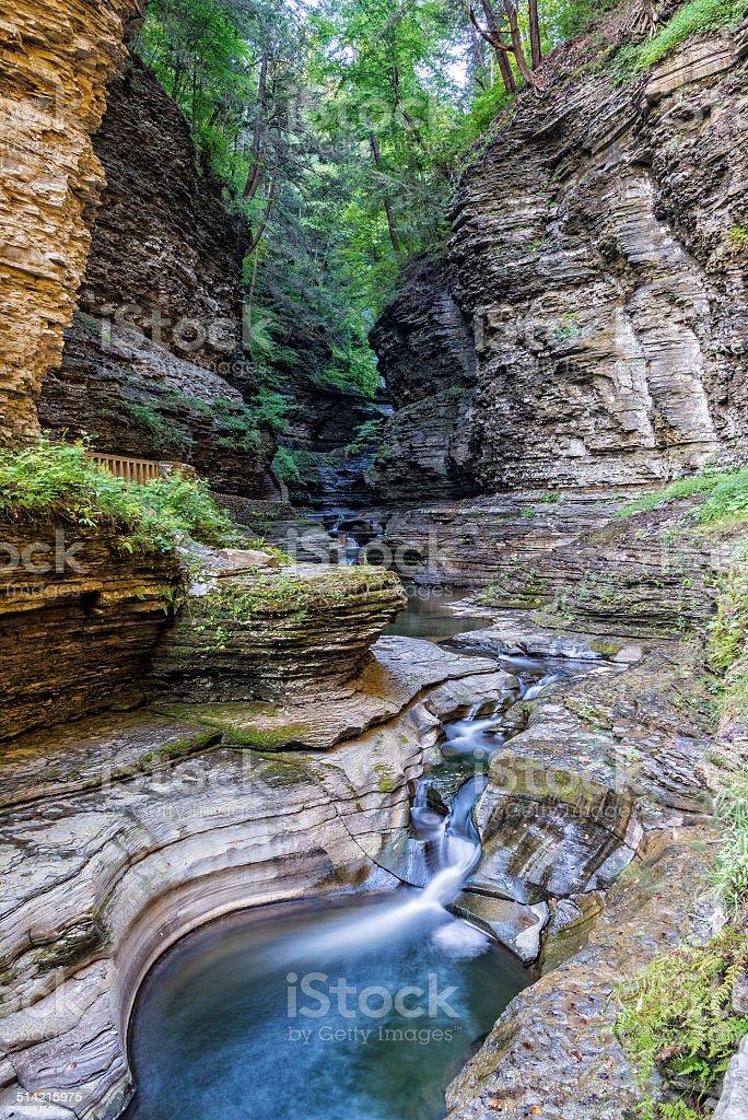 Watkins Glen Gorge In Early Morning Light stock photo