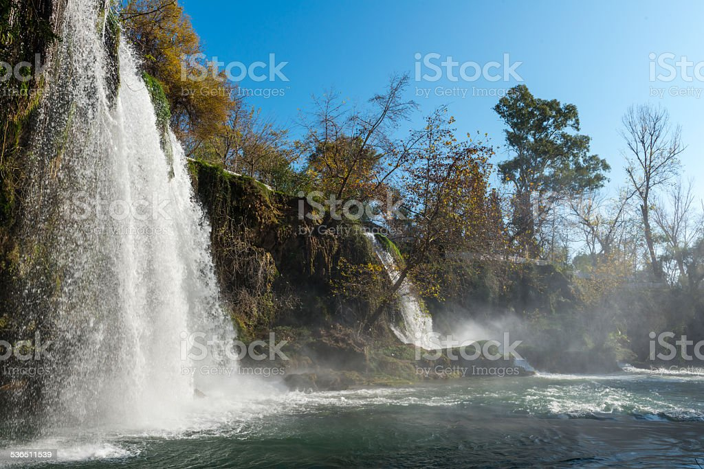 Watrefall in the forest between mountains stock photo