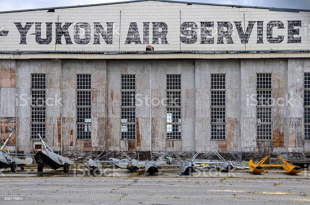 Watson Lake, Canada, historic airport hangar stock photo