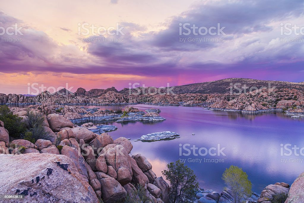 Watson lake Prescott Arizona Sunset stock photo
