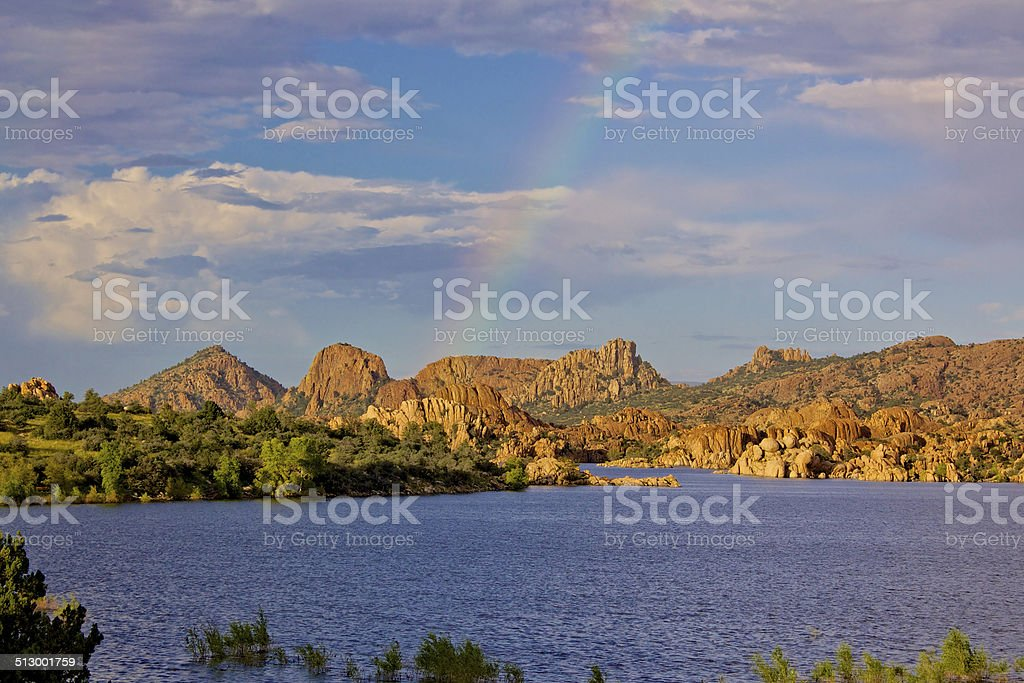 Watson lake Rainbow stock photo