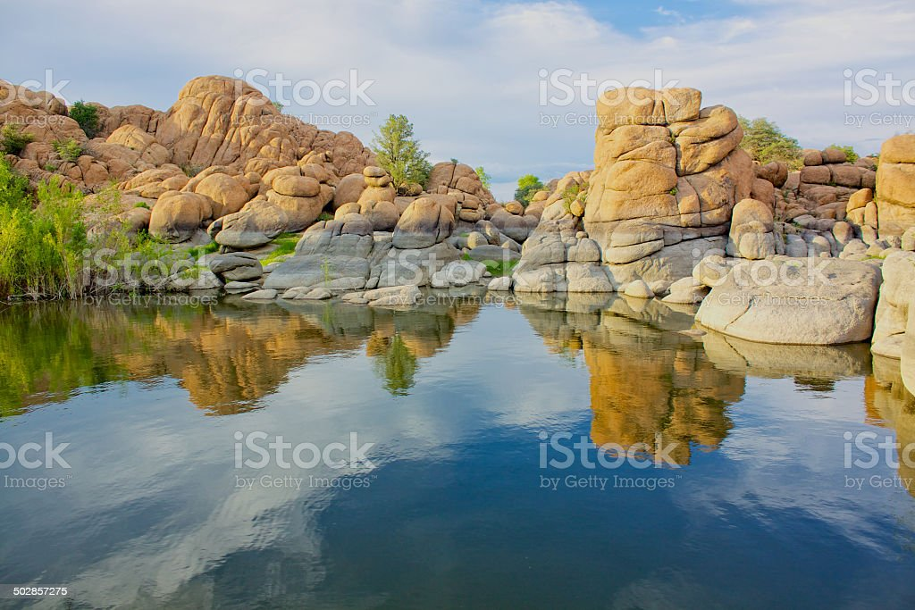 Watson Lake Reflection stock photo