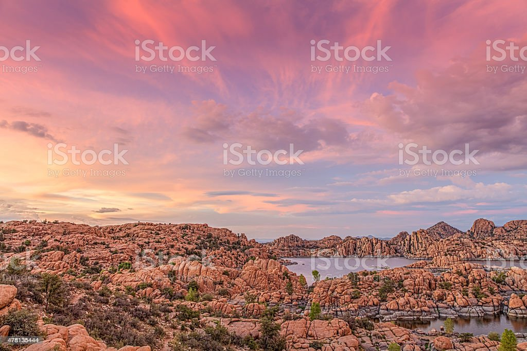 Watson Lake Sunset stock photo