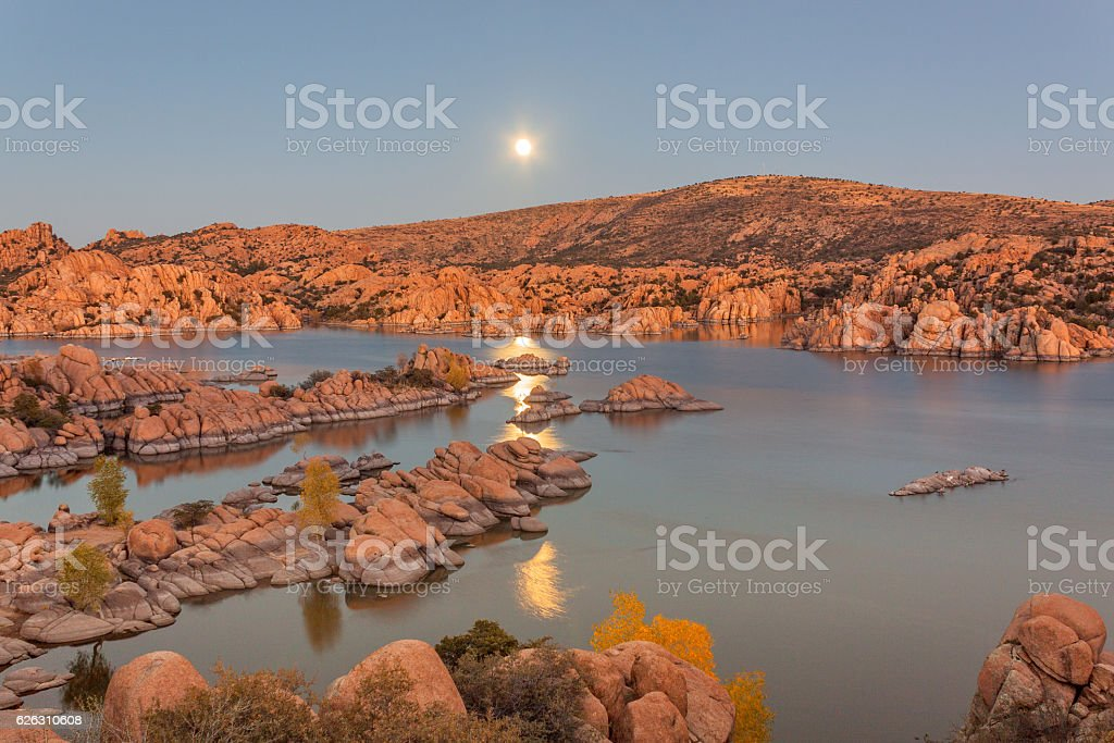Watson Lake Supermoon stock photo