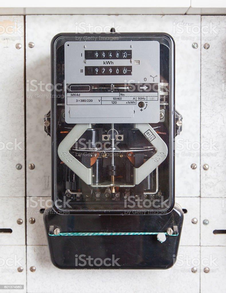 Watt hour electric meter measurement tool home stock photo