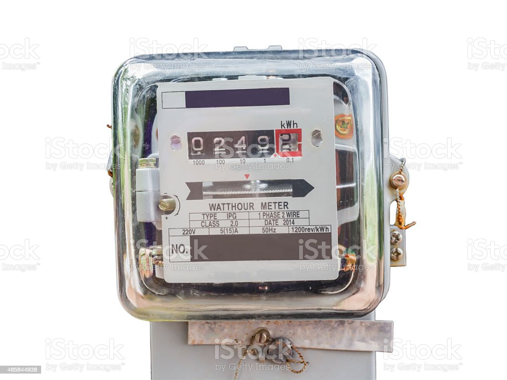 Watt hour Electric meter measurement tool home use front view stock photo