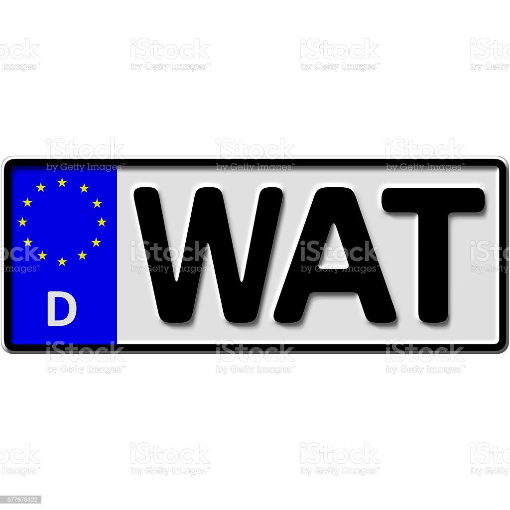 Wattenscheid license plate number stock photo