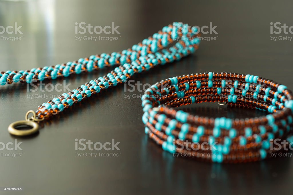 Wattled necklace and bracelet from beads stock photo