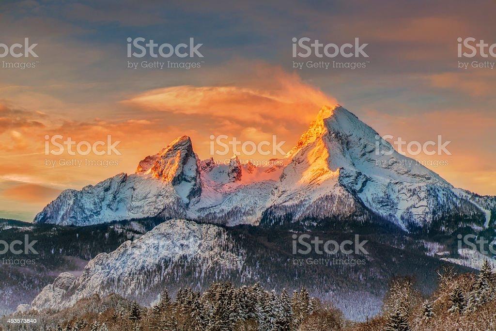 Watzmann at Sunrise - Alps stock photo