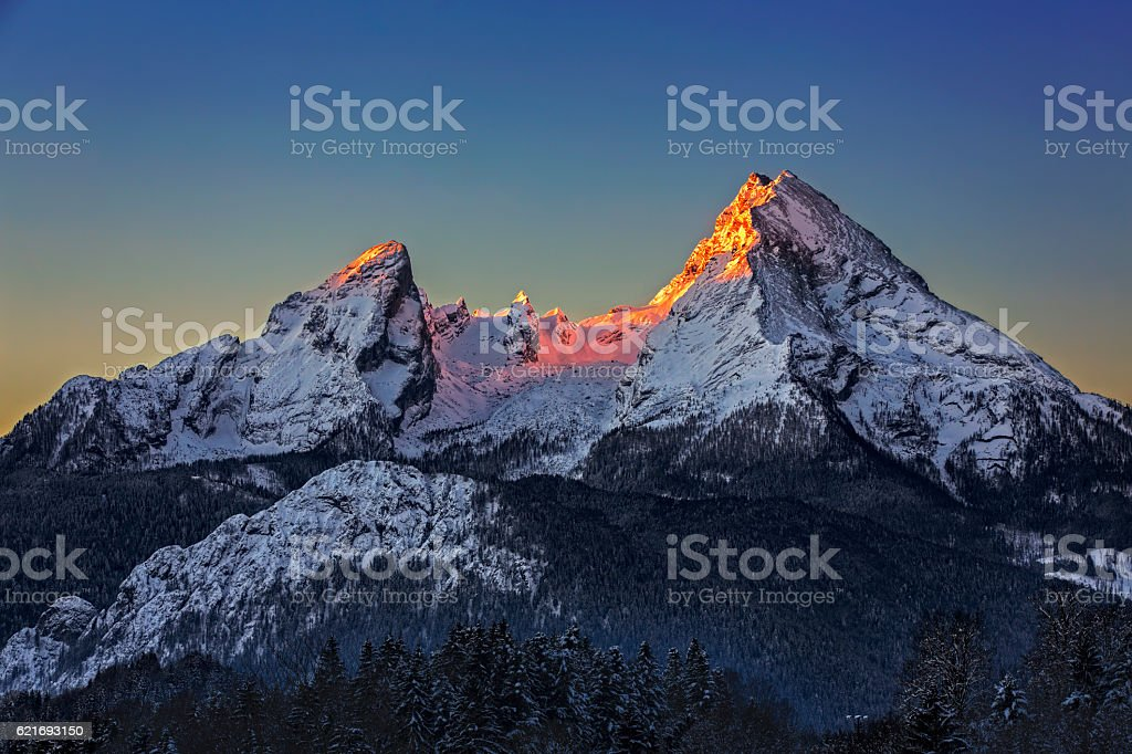 Watzmann at Sunrise in Winter stock photo