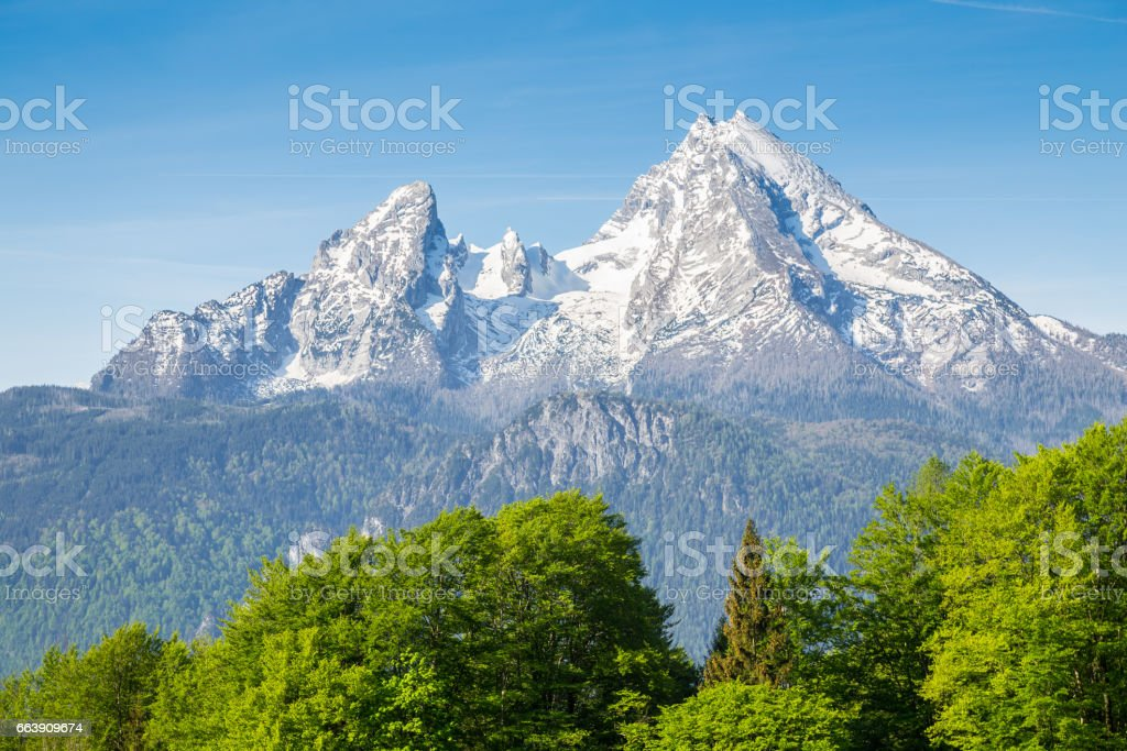 Watzmann mountain peak in summer, Bavaria, Germany stock photo