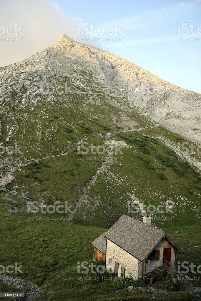 Watzmann (peak Hocheck) seen from Watzmannhaus, german Alps royalty-free stock photo