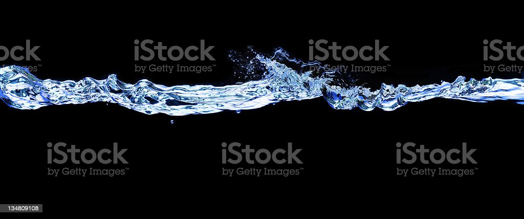 Wave and bubbles in blue XXLarge royalty-free stock photo