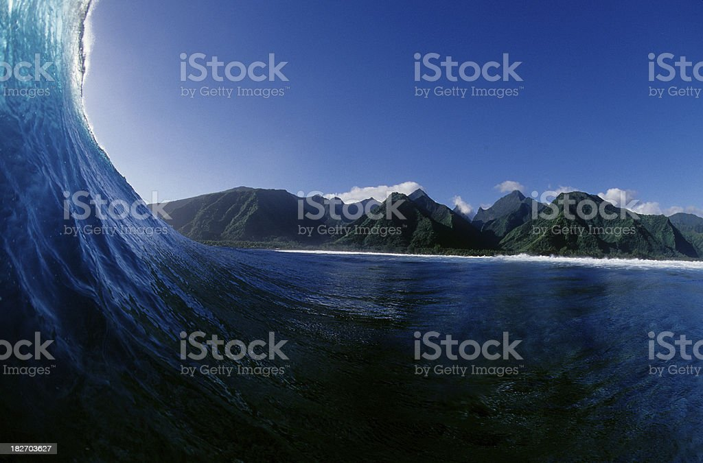wave and mountain view royalty-free stock photo