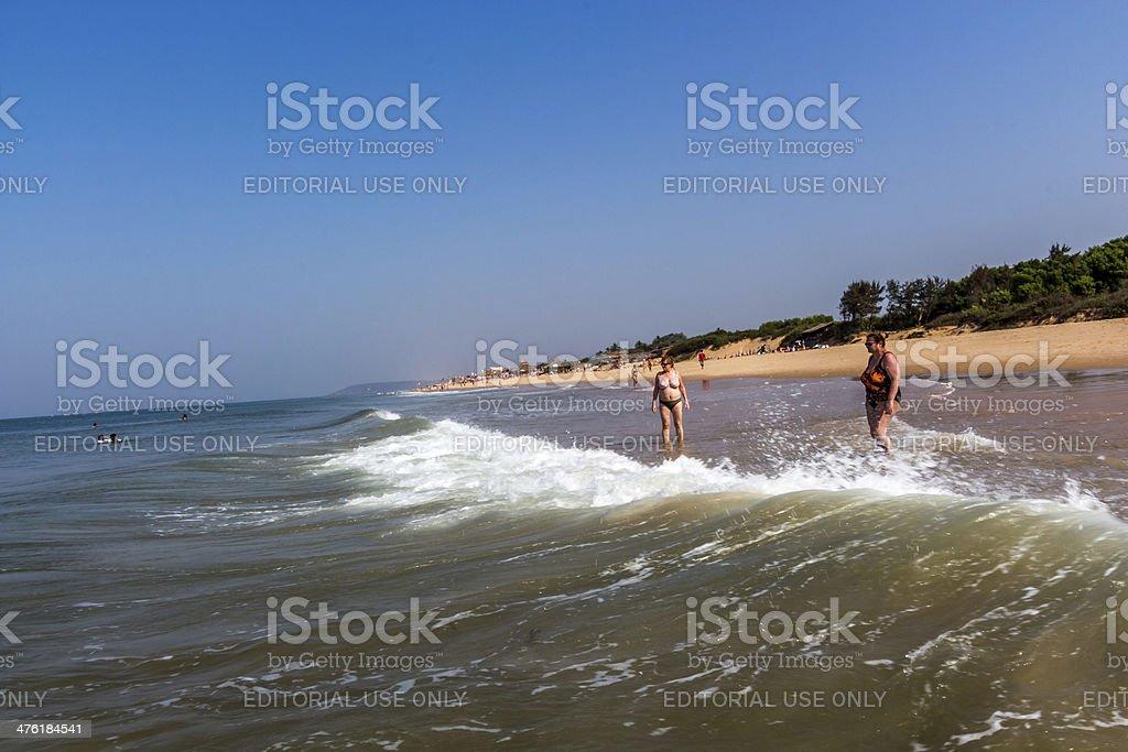 wave are hitting ladies stock photo