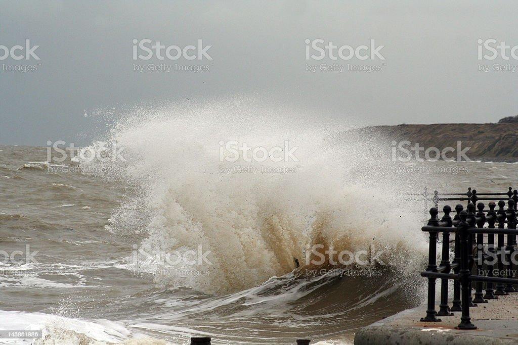 Wave battering Southern UK shore stock photo