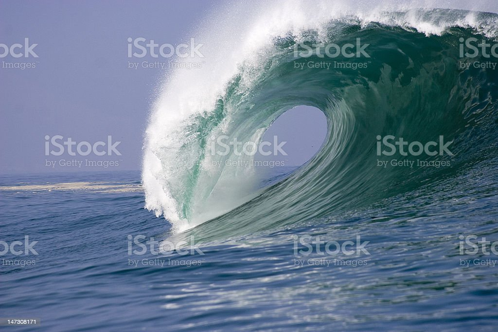wave breaking in the ocean of Chile stock photo