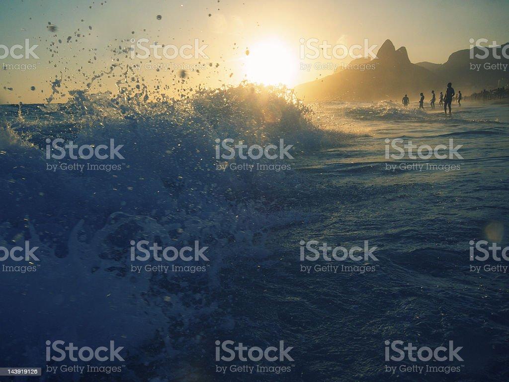 Wave Crashes on Ipanema Beach Rio de Janeiro royalty-free stock photo
