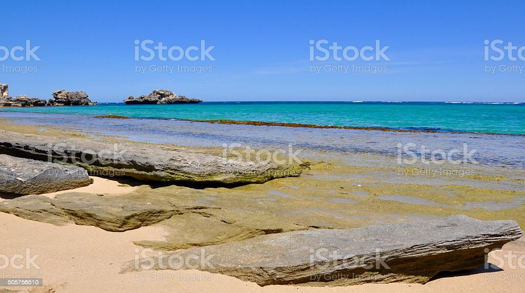 Wave Cut Limestone: Indian Ocean, Cape Peron stock photo
