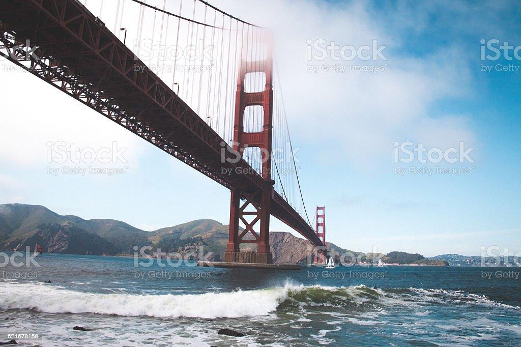 Wave down the bridge stock photo