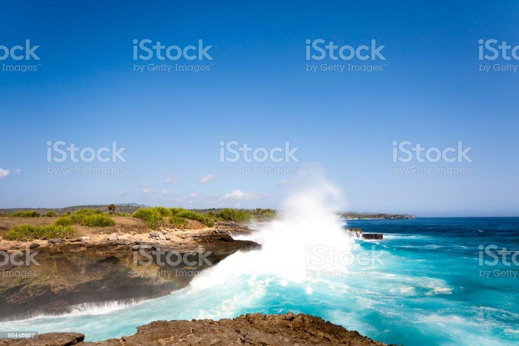 Wave explosion on beautiful coastline stock photo