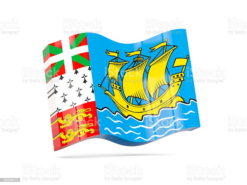 Wave icon with flag of saint pierre and miquelon stock photo