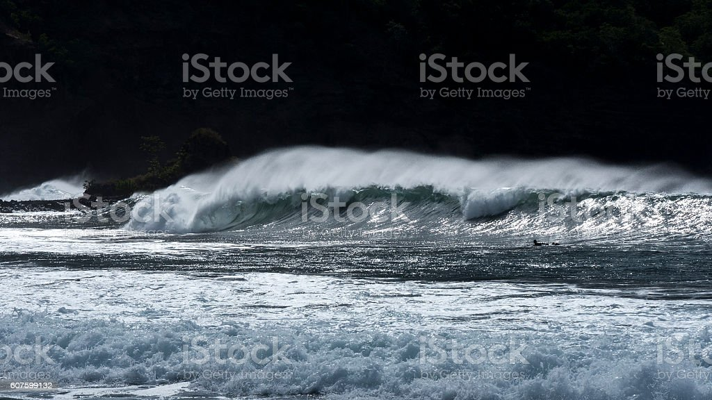 Wave in the wild islands of South Pacific stock photo