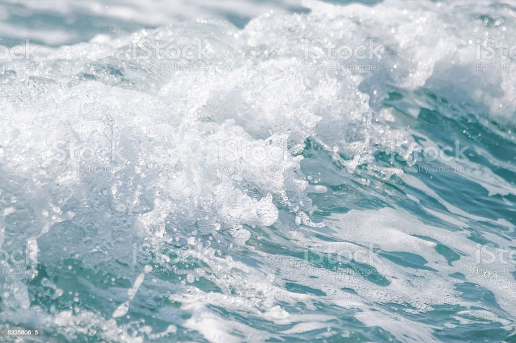 Wave ocean water background, Blue sea texture with waves. stock photo